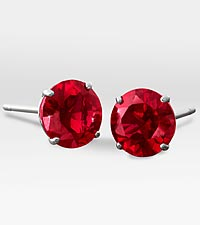 6mm Created Ruby 10K White Gold Stud Earrings