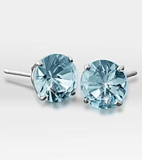 6mm Genuine Blue Topaz 10K White Gold Stud Earrings