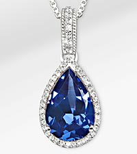 8-1/2 TGW Genuine Blue Sapphire with White Sapphires Sterling Silver Pendant Necklace - Exquisite