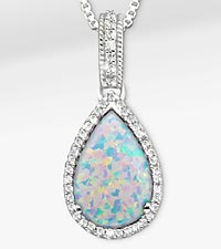 5-1/2 TGW Created Opal with White Sapphires Sterling Silver Pendant Necklace - Exquisite