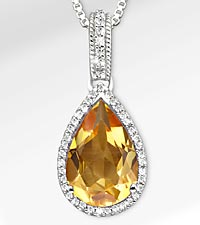 8-1/7 TGW Genuine Citrine with White Sapphires Sterling Silver Pendant Necklace - Exquisite