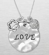 'Love' Inspirational Sterling Silver Pendant