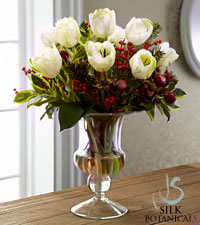 Jane Seymour Silk Botanicals Holiday White Tulip Bouquet in Glass Vase