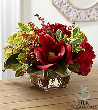 Jane Seymour Silk Botanicals Holiday Centerpiece in Flared Glass Vase