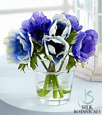 Jane Seymour Silk Botanicals Blue Anemone in Glass Vase