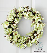 Jane Seymour Silk Botanicals White Magnolia Wreath