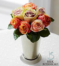 Jane Seymour Silk Botanicals Roses in Silver Julep Cup