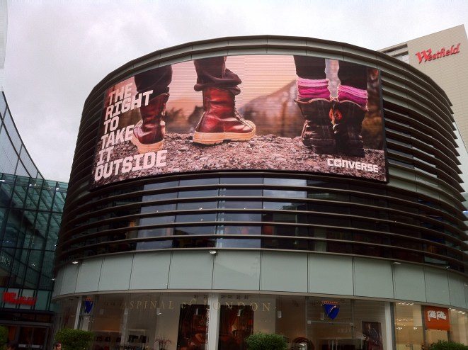 Westfield Stratford exterior 3 video wall
