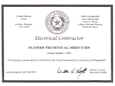 Flores Technical Services :: Certifications