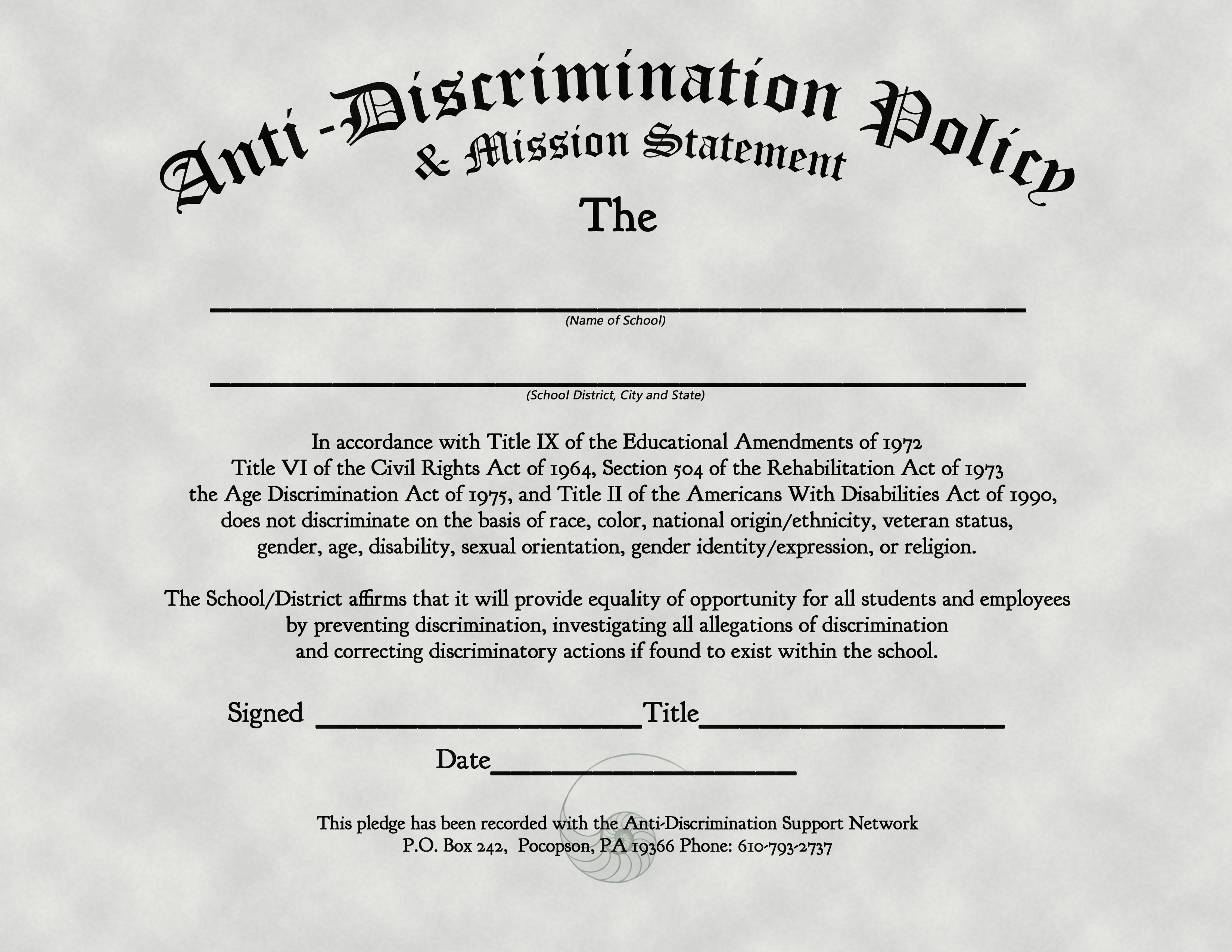 Anti-Discrimination Policy & Mission Statement « The