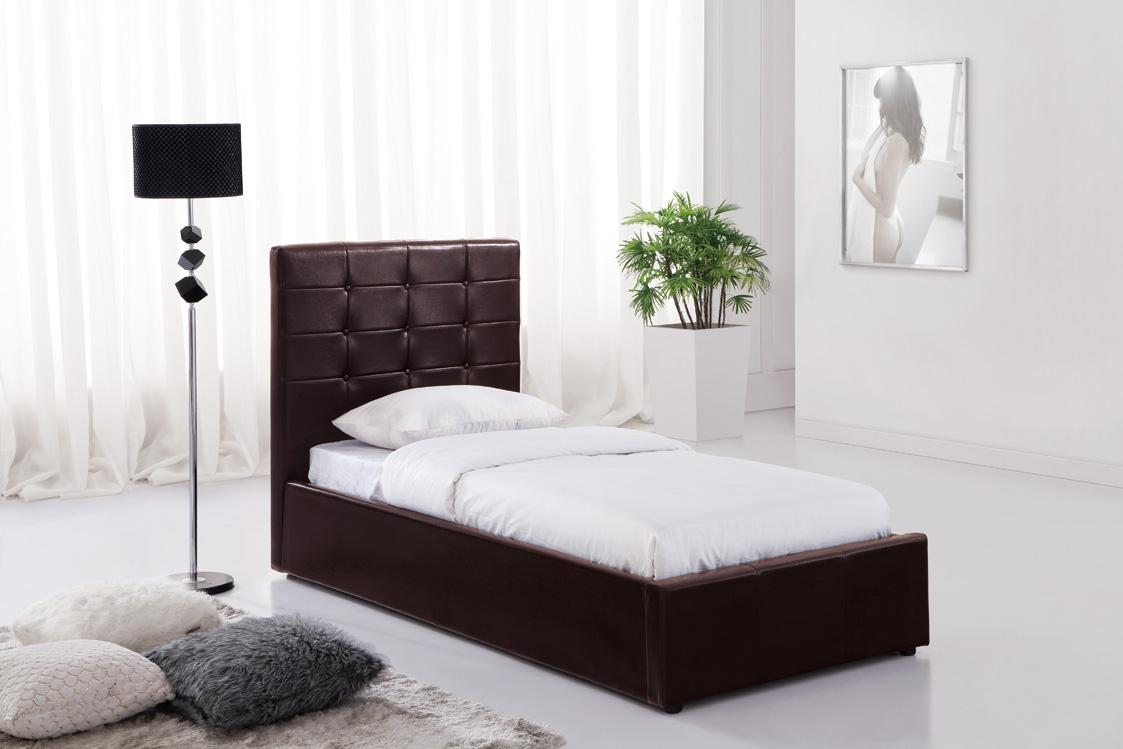 Brown Ottoman Faux Leather Single Bed With Storage