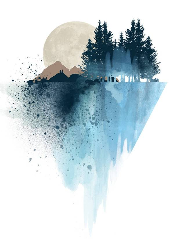 Art Watercolors Mountains
