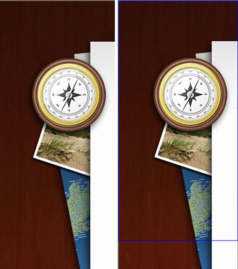 Abbildung einer Grafik in Photoshop. Links keine sichtbare Auswahlkante, rechts Kante mit blauem Rahmen.