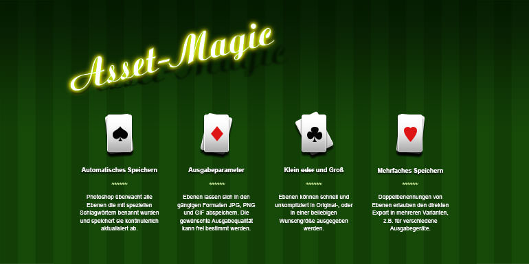 """Teaserbild Workshop """"Photoshop Generator"""". Spielkarten auf grün gestreiftem Hintergrund."""