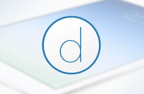 Verschwommenes iPad im Hintergrund, Logo Duet Display im Vordergrund