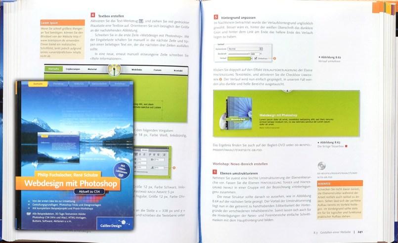 """Cover und exemplarische Seite meines Buches """"Webdesign mit Photoshop"""", das in Zusammenarbeit mit René Schulz 2009 bei Galileo press erschienen ist."""