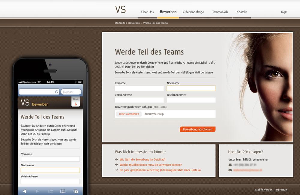 Abbildung Website auf mobilem Gerät und Desktop