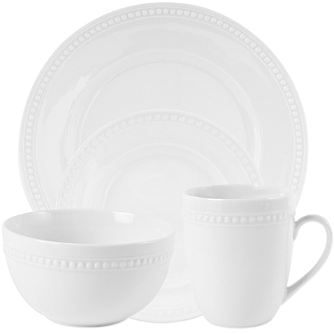 Everyday White Beaded Dinnerware Collection