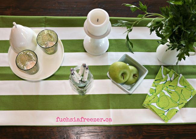 Green & White Table