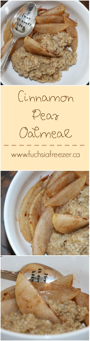 Start your morning off with a little extra sweetness! Try this amazing Cinnamon Pear Oatmeal bowl. Yum! You can find this amazing bowl and other inspiring breakfast dishes at www.fuchsiafreezer.ca
