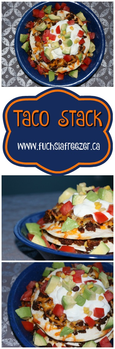 Taco Stack! The new way to enjoy tacos on #TacoTuesdays. Easy delicious and cheesy, this will definitely have everyone asking for more! For this recipe and other great dinner ideas visit www.fuchsiafreezer.ca