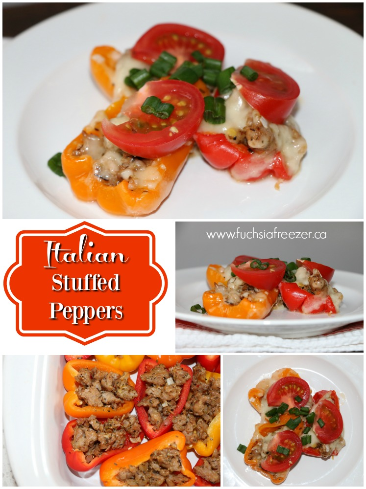 Italian Stuffed Peppers - a great way to change up your typical Tuesday night dinner! Mild or Hot Italian Sausages browned in basil infused olive oil, stuffed into a sweet mini-pepper and topped with a cheese blend. This will definately have your family sitting around the table before you call them!