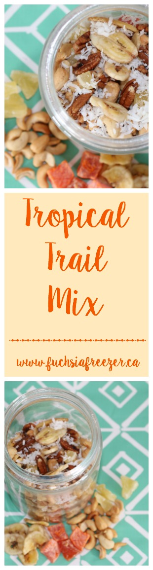 Don't get caught HANGRY!! Enjoy a snack on the go with this simple Tropical Trail Mix. Nuts, dried fruit and flaked coconut makes this the perfect on the run snack!