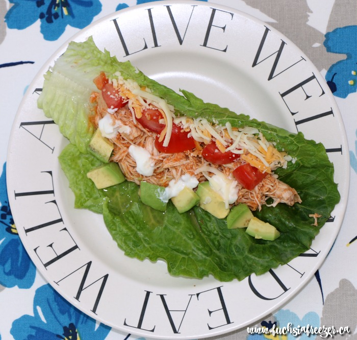 Delicious and Easy Buffalo Chicken Lettuce Wraps. Perfect for lunch or as a light dinner and only 6 SmartPoints for two!