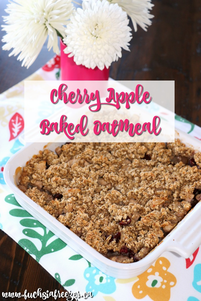 This Cherry Apple Baked Oatmeal is perfect to make ahead of time and grab on the go in the morning! Coming in at only 3 SmartPoints this is perfect for breakfast, lunch or as a snack and it's loaded with all the right stuff to keep you full and satisfied!