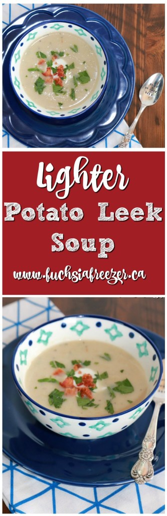 Lighter Potato Leek Soup: An easy way to enjoy delicious, creamy, homemade soup. Lighter on calories but not on flavour!