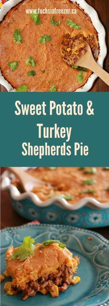 Delicious Sweet Potato & Turkey Shepherds Pie. Don't miss out on winter comfort foods! This delicious meal rings in at 5 SmartPoints per serving! #weightwatchers #5SmartPoints
