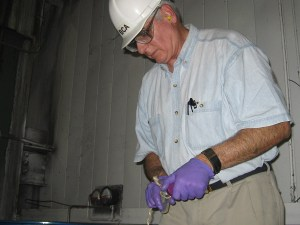 Fred Passman collecting microbial sample