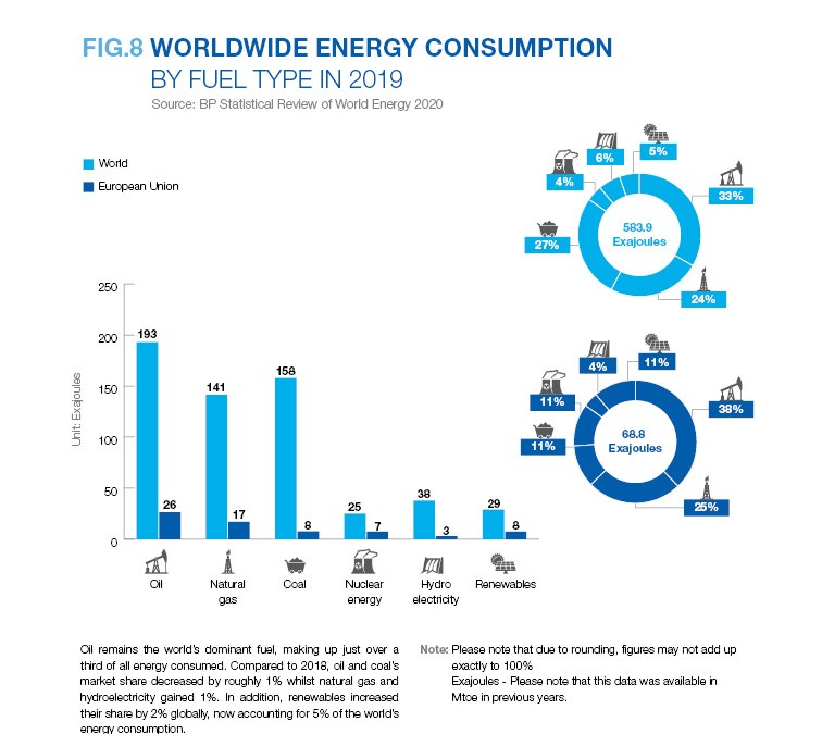 WORLDWIDE ENERGY CONSUMPTION BY FUEL TYPE IN 2019
