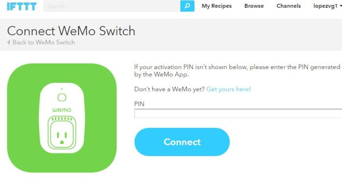 IFTTT WeMo Connect PIN