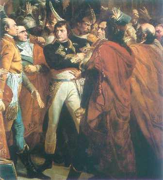 El 9 de noviembre de 1799, Napoleón es nombrado jefe del ejército de Paris. Con un enorme protagonismo gracias a sus campañas en Italia y Egipto, respaldado por la burguesia moderada del Directorio, participa en el golpe de estado que tiene lugar el 18 de brumario, poniendo fin al régimen del Directorio.