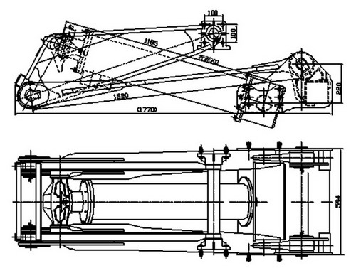Dump truck hydraulic Hoist UnitKRM 180A,Rigid Axle,Hollow