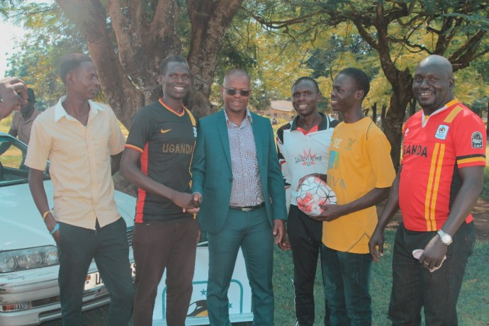 FUFA President meets some the St Paul's Church Football club players