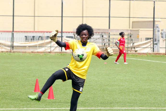 Goalie Aturo Ruth during training at Lugogo