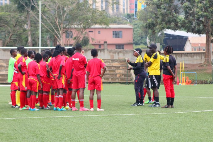 Bulega Briefing Crested Cranes players after their physical training