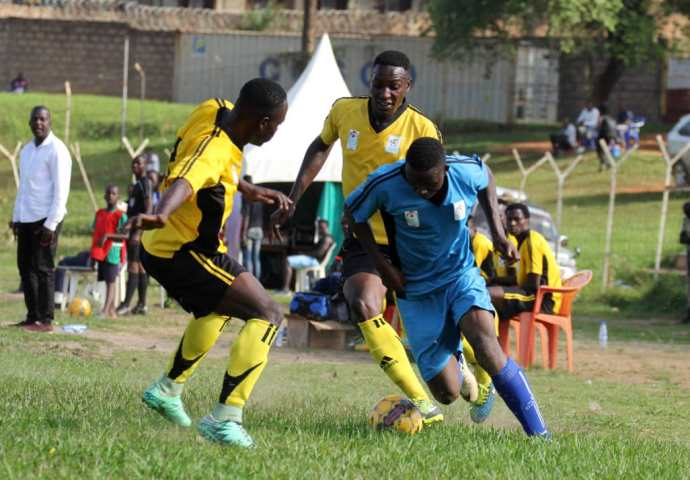 An action captured as Kampala was taking on Buganda at Wankuluku