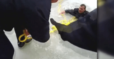Police Officer Falls Through Ice