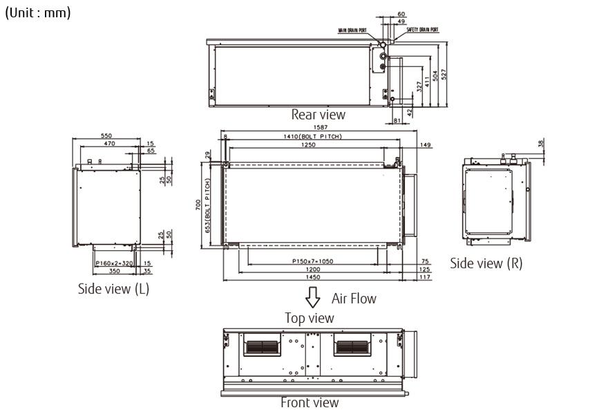 fujitsu wiring diagram harbor breeze fan split systems (air conditioner) : aryc90lhta [3phase] - general united kingdom