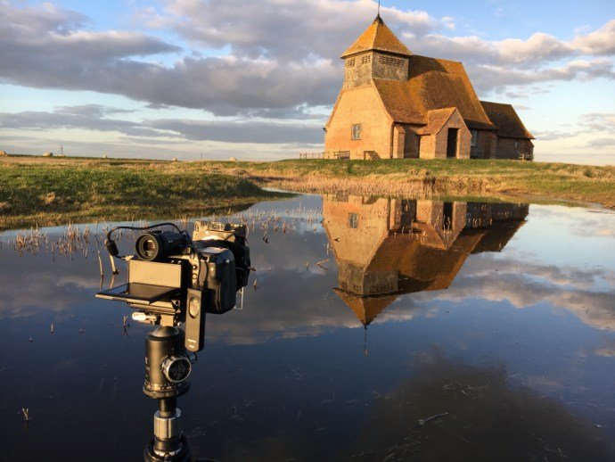 The Fujifilm GFX50S dangerously close to getting wet!