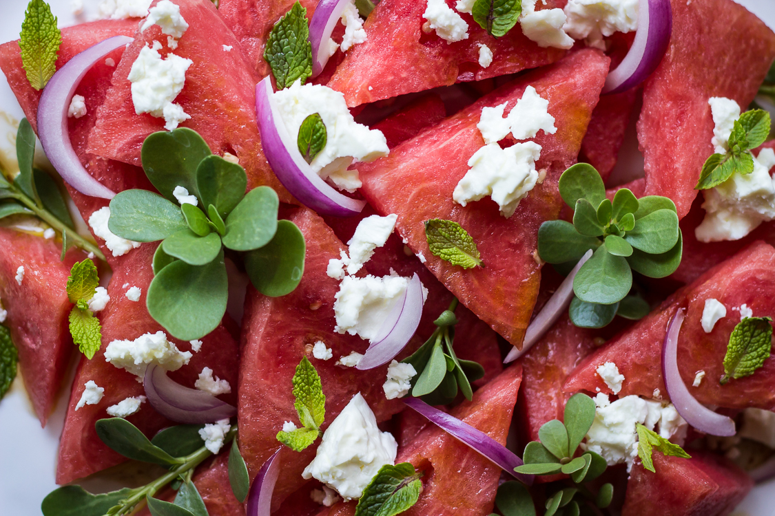 watermelon feta salad close