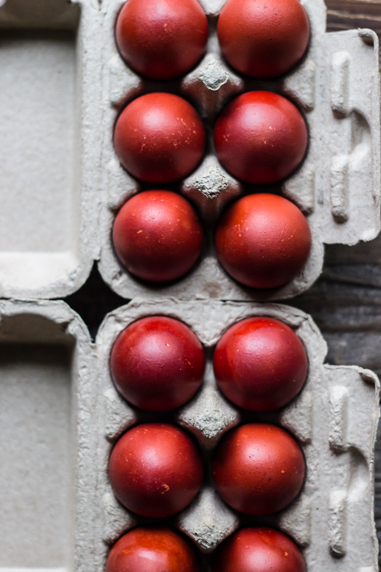 naturally dyed red eggs