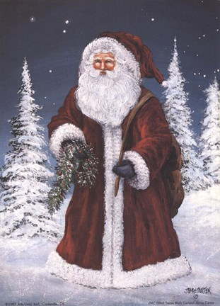 Santa with Garland Fine Art Print by Jamie Carter at