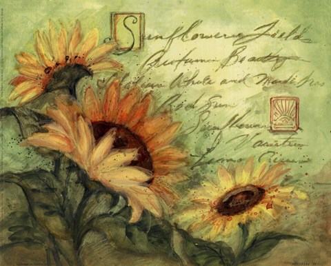 Sunflowers On Green Fine Art Print by Susan Winget at FulcrumGallerycom