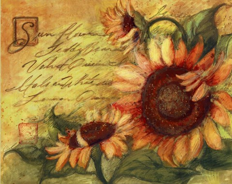 rustic living rooms blue couch room sunflowers on gold fine art print by susan winget at ...
