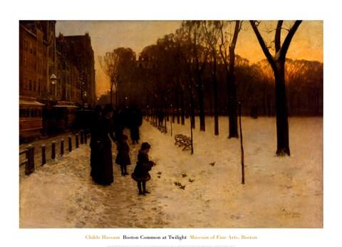 Boston Common at Twilight 188586 Fine Art Print by Childe Hassam at FulcrumGallerycom