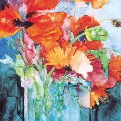Canvas Prints For Living Room Navy Blue And Tan Ideas Oriental Poppies Fine Art Print By Shirley Trevena At ...